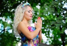 Beautiful girl praying for Ukraine Royalty Free Stock Image