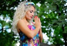 Beautiful girl praying for Ukraine Royalty Free Stock Photography