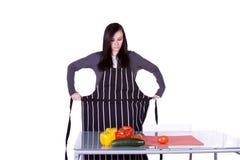 Beautiful Girl Preparing Food Stock Photo
