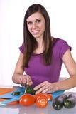Beautiful Girl Preparing Food Stock Images