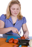 Beautiful Girl Preparing Food Stock Photography