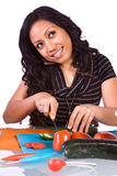 Beautiful Girl Preparing Food Stock Images