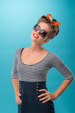 Beautiful girl with pretty smile in pinup style Royalty Free Stock Photos