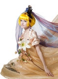 Beautiful girl the princess in a fabric Royalty Free Stock Photography