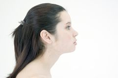 Beautiful girl profile stock photos