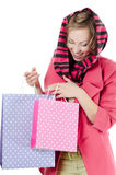 The beautiful girl with purchases Stock Photo