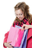 The beautiful girl with purchases Stock Photos