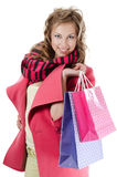 The beautiful girl with purchases Stock Image