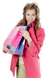 The beautiful girl with purchases Stock Photography
