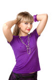 Beautiful girl in purple clothes with silver neckl. Ace studio shot royalty free stock photos
