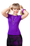 Beautiful girl in purple clothes with silver neckl. Ace holding hair royalty free stock image