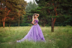Beautiful girl in a purple dress. Beautiful, young, blond in a luxurious, purple, long dress. Fairy Photo. Creative toning. Queen walking in the fairy forest royalty free stock photo