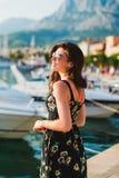 Beautiful girl at quay Stock Photos