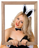 Beautiful girl - a rabbit in the frame Royalty Free Stock Photography