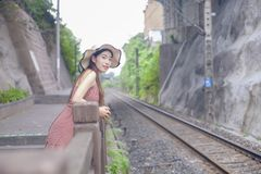Beautiful Girl and Railway Background stock photo
