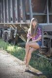 Beautiful girl on the railway Royalty Free Stock Image