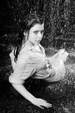 Beautiful girl in the rain Royalty Free Stock Images