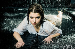 Beautiful girl in the rain Stock Images