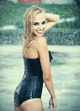 Beautiful girl in rain. Royalty Free Stock Photo
