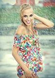 Beautiful girl in rain. Stock Photo