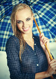Beautiful girl in rain. Royalty Free Stock Images