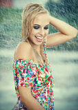 Beautiful girl in rain. Stock Image