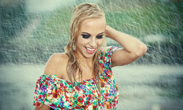 Beautiful girl in rain. Stock Photo