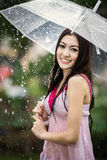 Beautiful girl in the rain with transparent umbrella Royalty Free Stock Photo