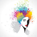 Beautiful girl with rainbow color hair Royalty Free Stock Photography