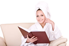 Beautiful girl read book indoor home. Stock Photography