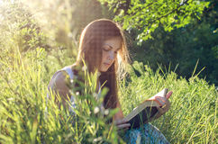Beautiful girl reading a book on a meadow. Green grass stock photos