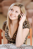 Beautiful girl reads sms Stock Photography