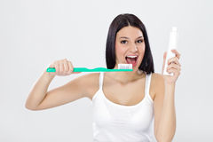Beautiful girl ready for brushing Royalty Free Stock Images
