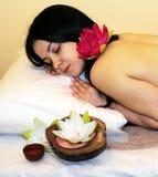 Beautiful girl ready for massage Stock Image