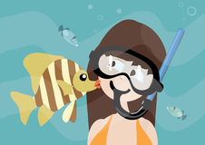 Beautiful girl receiving a fish kiss. In undersea world Royalty Free Stock Photo