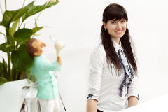 Beautiful girl at the reception. In the dental clinic Stock Image