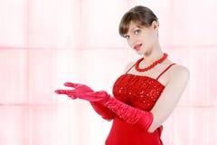 Beautiful girl in red Stock Photo