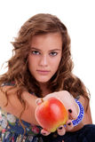 Beautiful girl with a red apple Royalty Free Stock Image