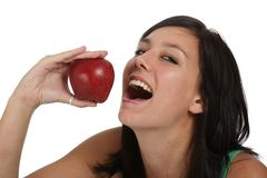 Beautiful Girl with Red Apple Stock Photography