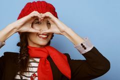 Beautiful girl in a red beret. French style. Royalty Free Stock Images