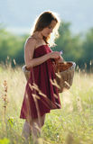 Beautiful girl in red clothes. A girl in red clothes with a large basket picks flowers on the field Stock Images