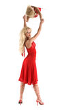 Beautiful girl in red clothes royalty free stock images