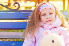 Beautiful Girl with Red Curly Hair in the Autumn Park Stock Photography