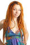 Beautiful girl with red dreadlocks Stock Images