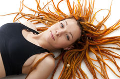 Beautiful girl with red dreadlocks Stock Photos