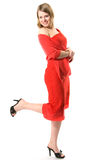 The beautiful girl in a red dress Stock Images