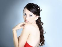 Beautiful girl in the red dress Stock Photo