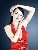 Beautiful girl in the red dress Stock Photos