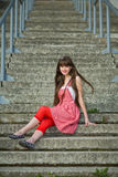 Beautiful girl in a red dress Royalty Free Stock Photo