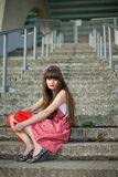 Beautiful girl in a red dress Royalty Free Stock Image